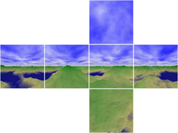 Net of a Scenery Image Texture Cube(consists of Gnomonically Projected 6 Faces) for Flash 3D Cubic Panorama