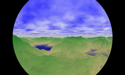 Equisolid-angularly Projected Circular Fisheye Scenery Image Texture for Flash 3D Spherical Panorama